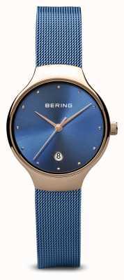 Bering Mulheres | clássico | pvd azul chapeado pulseira de malha azul 13326-368