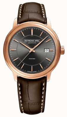 Raymond Weil | maestro para homem | pulseira de couro marrom | mostrador cinza | 2237-PC5-60011