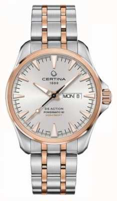 Certina | ds action day-date powermatic 80 | aço inoxidável | C0324302203100
