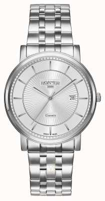 Roamer | linha clássica | pulseira de aço inoxidável | mostrador prateado | 709856 41 17 70