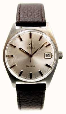 Used Data geneve masculino Omega 1969 pulseira marrom J55083