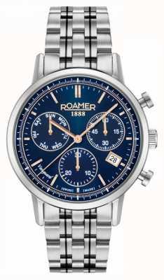 Roamer Vanguarda crono ll | pulseira de aço inoxidável | mostrador azul 975819-41-45-90