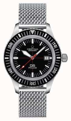 Certina | ds ph200m | pulseira de malha de aço inoxidável | mostrador preto | C0364071105000