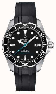 Certina | ds mergulhador de ação powermatic 80 | pulseira de borracha preta | C0324071705160