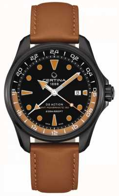 Certina | mens ds ação powermatic | pulseira de couro marrom | C0324293605100