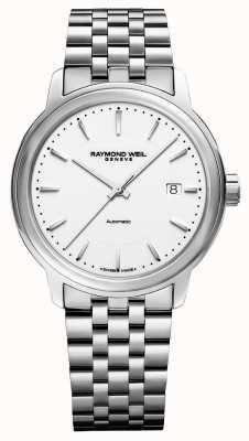 Raymond Weil Mens | maestro | automático | mostrador branco | aço inoxidável 2237-ST-30011
