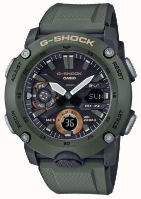Casio | g-shock guarda núcleo de carbono | pulseira de borracha verde | GA-2000-3AER