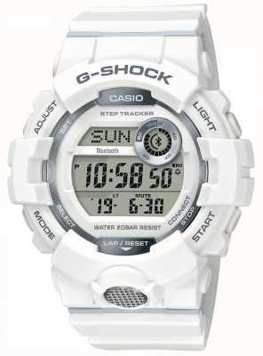 Casio | g-shock | relógio desportivo, rastreador de passo | pulseira de borracha branca GBD-800-7ER