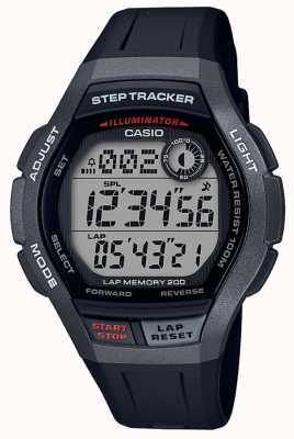 Casio | relógio desportivo, rastreador de passo | pulseira de borracha preta | WS-2000H-1AVEF