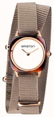 Briston | senhora do clubmaster | cinta de taupe nato simples | pvd ouro rosa 19924.PRA.T.2.NT
