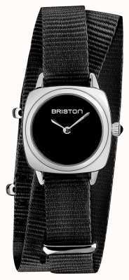 Briston | senhora do clubmaster | correia preta da OTAN preta | mostrador preto | 19924.S.M.1.NB