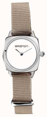 Briston | senhora do clubmaster | cinta de taupe nato simples | mostrador branco | 19924.S.M.2.NT - SINGLESTRAP