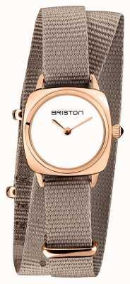 Briston | senhora do clubmaster | OTAN taupe único | caso do pvd do ouro cor-de-rosa | 19924.SPRG.M.2.NT