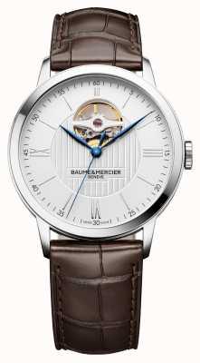 Baume & Mercier | mens classima | couro marrom | mostrador prateado | automático | BM0A10274