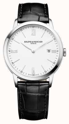Baume & Mercier | mens classima | pulseira de couro preto | mostrador branco | BM0A10323