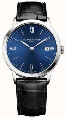 Baume & Mercier | mens classima | pulseira de couro preto | mostrador azul | M0A10324