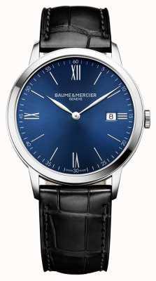 Baume & Mercier | mens classima | pulseira de couro preto | mostrador azul | BM0A10324