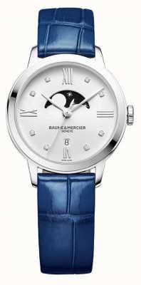 Baume & Mercier | classima das mulheres | couro azul | dial prata moonphase | BM0A10329