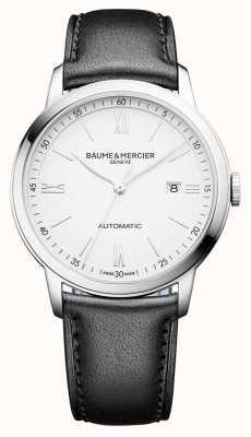 Baume & Mercier | mens classima | automático | couro preto | mostrador branco | BM0A10332
