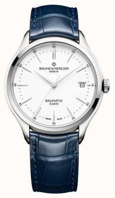 Baume & Mercier | mens clifton | baumatic | couro azul | mostrador branco | BM0A10398