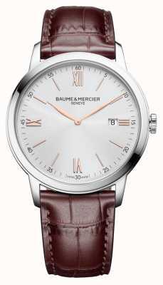 Baume & Mercier | mens classima | couro castanho claro | mostrador prateado | BM0A10415