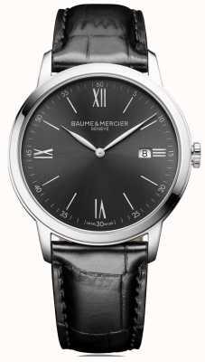 Baume & Mercier | mens classima | couro preto | mostrador cinza ardósia | BM0A10416