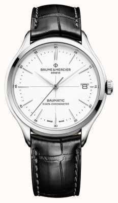 Baume & Mercier | mens clifton | baumatic | couro preto | mostrador branco | BM0A10436