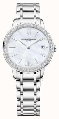 Baume & Mercier | classima das mulheres | moldura de diamante | pulseira de aço inoxidável BM0A10478