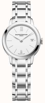 Baume & Mercier | classima das mulheres | pulseira de aço inoxidável | mostrador branco | BM0A10489