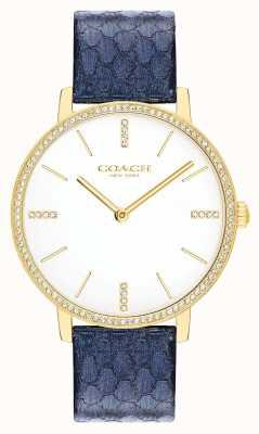 Coach | mulheres | Audrey couro azul marinho metálico | mostrador branco | 14503351