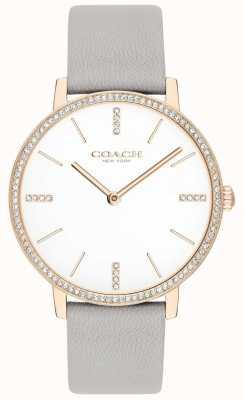 Coach | mulheres | Audrey | pulseira de couro cinza | mostrador branco | 14503352