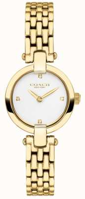 Coach | mulheres | chrystie | pulseira de ouro pvd | mostrador branco | 14503391