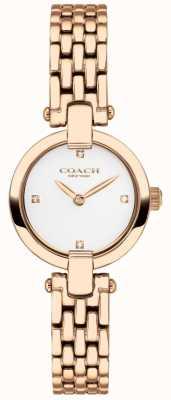 Coach | mulheres | chrystie | pulseira de ouro rosa pvd | mostrador branco | 14503392
