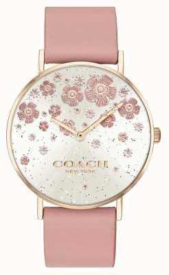 Coach | Perry pulseira de couro corada | mostrador de glitter floral | 14503325
