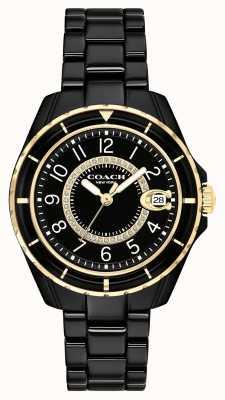 Coach | mulheres | preston | pulseira de cerâmica preta | mostrador preto | 14503461