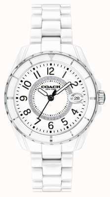 Coach | mulheres | preston | pulseira de cerâmica branca | mostrador branco | 14503462