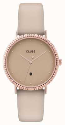 CLUSE | le couronnement | pulseira de couro bege | mostrador em ouro rosa | CL63006
