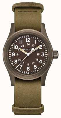 Hamilton   campo caqui mecânico   mostrador marrom   pulseira de couro   H69449861