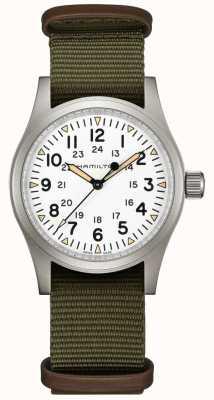 Hamilton | campo caqui mecânico | mostrador branco | pulseira verde | H69439411