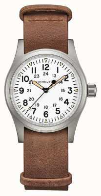 Hamilton | campo cáqui mecânico | mostrador branco | pulseira de couro marrom H69439511