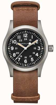 Hamilton | campo cáqui mecânico | mostrador preto | pulseira de couro marrom H69439531