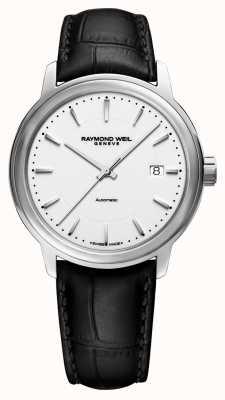 Raymond Weil | mens maestro | auto | pulseira de couro preto | mostrador branco | 2237-STC-30011