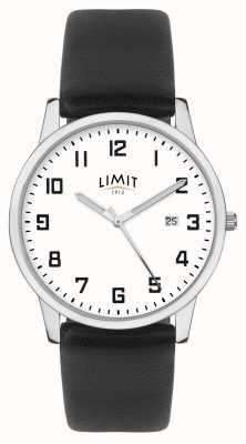 Limit | pulseira de couro preto mens | mostrador prateado / branco | 5741.01