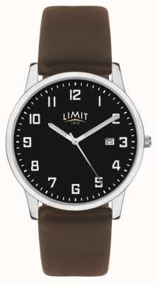 Limit | pulseira de couro marrom escuro mens | mostrador preto | 5744.01