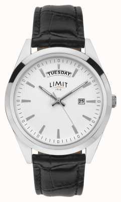 Limit | couro preto mens | mostrador prateado | estojo de prata | 5749.01