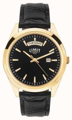 Limit | pulseira de couro preto mens | mostrador preto | caixa de ouro | 5750.01