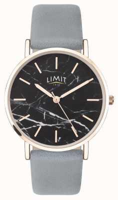 Limit | jardim secreto das mulheres | pulseira de couro cinza | mostrador preto | 60046.73