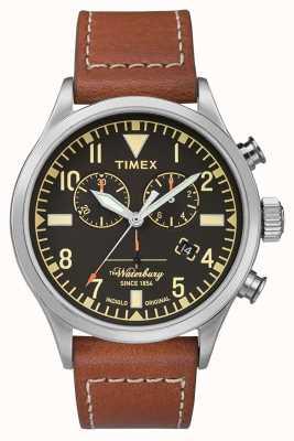 Timex X asa vermelha | Waterbury | crono | mostrador preto | Couro Marrom TW2P84300