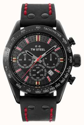 TW Steel Filho do tempo moksha | crono | mostrador preto | couro preto TW987