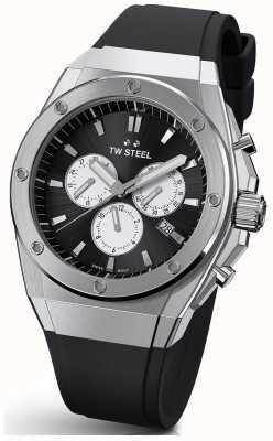 TW Steel Tecnologia ceo | crono | mostrador preto | pulseira de borracha preta TWCE4041